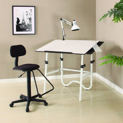 Alvin - Onyx Creative Center With Drafting Chair - CC2012E - Shop for Chairs and Sofas from Hayneedle.com! The Onyx Creative Center With Office Chair provides a complete solution for the creative needs of professionals students crafters and hobbyists. Complete with a fully adjustable table chair lamp and a storage tray this is an ideal studio. The fold-away design of the table allows convenient storage and/or transport.A Word from the Manufacturer Alvin and Company has been a leading source of drafting and drawing supplies since 1950 and it continues to meet the evolving needs of its customers with value and innovation. The ever-expanding range of Alvin products includes papercraft fine arts hobby and craft drafting supplies drafting tables and more. Alvin serves today's needs - and tomorrow's too - for graphic arts drafting and fine arts products. Dedicated to the pursuit of excellence in all aspects of its business Alvin relies on its employees to create and develop opportunities that set it apart from the competition.