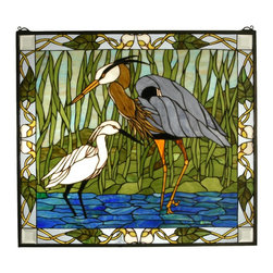 Meyda Tiffany - Meyda Tiffany Blue Heron & Snowy Egret Stained Glass Tiffany Window X-55926 - The dark gray wings of the blue heron are complimented by the crisp white tones of the snowy egret on this Meyda Tiffany stained glass Tiffany window. Shown standing in a pool of vivid blue water, this charming motif also features a beautiful green backdrop with stones and leaves. Coordinating trim pulls this design together.