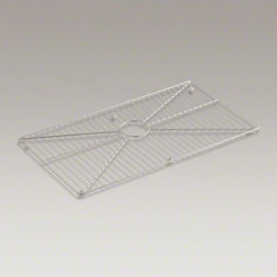 """KOHLER - KOHLER Vault(TM) stainless steel sink rack, 32"""" x 16-11/16"""" for 36"""" single-bowl - Protect the beauty of your Vault apron-front sink with a sink rack. Designed to fit the single, rectangular basin of the Vault sink, this stainless-steel rack helps safeguard your fragile dishes and protects the sink's surface."""