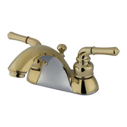 """Kingston Brass - Polished Brass Two Handle 4"""" Centerset Lavatory Faucet with Retail Pop-up KB2622 - This bathroom faucet features a whimsical feel with its sweeping spout and graceful lever handles. This faucet has a deck mount setup and features a 4"""" centerset installation. The body is fabricated from solid brass for durability and long-lasting use. The color finish is made of polished brass for that golden reflective shine, as well as resisting scratches, corrosion and tarnishing. The spout has a reach of 5-1/8"""" and a height of 4-1/8"""". The handles allow for easy management of water volume and temperature. The faucet operates with a washerless cartridge valve for droplet-free functionality with the water measured 2.2 GPM (8.3 LPM) and a 60 PSI maximum rate.  An integrated removable aerator is inserted beneath the spout's head piece for conserving water flow. A pop-up drain in a matching finish is included. All mounting hardware is included and standard US plumbing connections are used.  A 10-year limited warranty is provided to the original consumer.. Manufacturer: Kingston Brass. Model: KB2622. UPC: 663370002618. Product Name: Two Handle 4"""" Centerset Lavatory Faucet with Retail Pop-up. Collection / Series: NAPLES. Finish: Polished Brass. Theme: Contemporary / Modern. Material: Zinc Alloy/Brass. Type: Faucet. Features: Drip-free washerless cartridge system"""