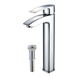 "Kraus - Kraus FVS-1810-PU-10CH Chrome Vessel Mixer Visio Single Hole Vessel - Product Features:  Fully covered under Kraus  limited lifetime warranty All-brass faucet construction High-quality, corrosion and rust resistant triple-plated finish - finish covered under lifetime warranty Single handle operation Tall design for use with vessel (above-the-counter) sinks ADA compliant Low lead compliant - complies with federal and state regulations for lead content Designed to easily connect to standard US plumbing supply bibs Extra secure mounting assembly All necessary mounting hardware included  Product Technologies and Benefits:  Precision Kerox Cartridges: The cartridge's job is to deliver smooth handle operation and water flow, throughout hundreds of thousands of uses, without ever leaking – all while under a punishing 60 pounds-per-square-inch of pressure. For these reasons, it is quite literally what ""makes or breaks"" the faucet. Kraus understands this, so they take no shortcuts here, importing their cartridges from the world's leading manufacturer of high-end precision ceramic disc cartridges, Kerox in Hungary. Swiss-Made NeoPerl Aerators: Aerators are possibly the most under-appreciated component within faucets. Not only do they soften the stream (preventing splashing), but they also control the straightness, diameter, overall delivery of water. Fortunately, like their cartridges, Kraus recognizes this and chooses to takes no gambles here – they import their aerators from NeoPerl in Switzerland, the world's leading manufacturer for high-end and specialty aerators. Heavily Certified: Kraus has gone to great lengths to be able to provide you, the homeowner, the rest-easy satisfaction knowing that your faucet is certified and listed by all the major product testing"