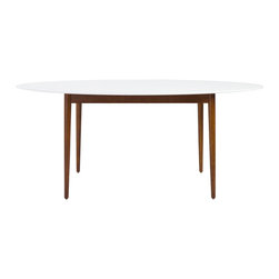 Euro Style - Euro Style Manon Oval Dining Table 90190WHT - Probably the most striking thing about these tables is the contrast between the matte white tops and the solid oak legs finished in walnut. Somehow the design straddles a more traditional approach with the walnut finished legs and the more modern plain white top. It's a great look.