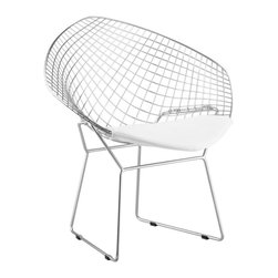 Zuo Modern - Zuo Net Dining Chair in White [Set of 2] - Dining Chair in White belongs to Net Collection by Zuo Modern An icon of Mid-Century modern, the Net comes chrome and has two cushion choices: black or white. It is made of a welded solid steel frame. Dining Chair (2)