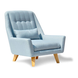 Baby Blue Modern Chair - Brighten up your living room with this Baby Blue Modern Chair. Featuring a stylish mid-century inspired shape and two shades of calming blue, the chair is perched atop sturdy light wood legs and perfect for adding personality to your d̩cor.