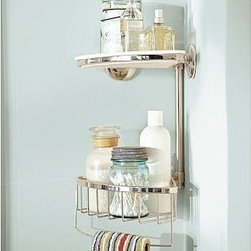 Double Corner Shower Caddy, Polished Nickel finish - Eliminate clutter and keep the items you use most within reach with this easy-to-install caddy.Crafted of stainless steel with a polished-nickel finish.Corner unit has a shelf that lifts out for cleaning.Wraparound rail provides a convenient spot to hang washcloths and loofahs. View our {{link path='pages/popups/fb-bath.html' class='popup' width='480' height='300'}}Furniture Brochure{{/link}}. Catalog / Internet Only.
