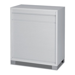 Sarmog - Modern White Small Cabinet with Rolling Shutter - Small cabinet with rolling shutter.
