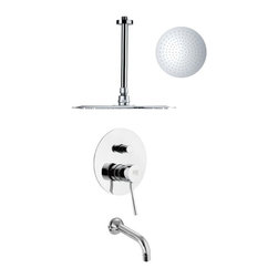 Remer - Sleek Tub and Rain Shower Faucet - This shower system made by Remer is perfect for any modern or guest bathroom.