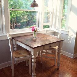Reclaimed Wood Petite Plantation Farm Table with Drawer - Handmade Reclaimed Barn Wood Petite Plantation with drawer. The perfect table for your small dining area or breakfast nook!