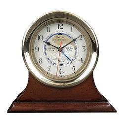 Authentic Models - Captain Time & Tide Clock - Heavy sand cast. Custom dials and hands. Comes with instructions and write-up. Working instrument for the East coast. West coast tide patterns require weekly settings. Brass cased clock shows the phases of the tide. 7.1 in. Dia. x 2.6 in. H
