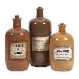 iMax - Easton Decorative Medicine Bottles, Set of 3 - Vintage medicine bottle labels decorate these simple ceramic stoppered bottles, evoking the image of an old west medicine man peddling his wares. Add a teaspoon of charm to cure your decorating needs.