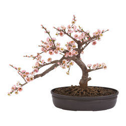 Nearly Natural - Nearly Natural Cherry Blossom Bonsai Silk Tree - A truly beautiful specimen symbolizing the botanical beauty of Japan (and other parts of the world as well). Staying low to the ground at 15 inches, this Cherry Blossom Bonsai is perfect for those seeking elegance and tranquility. The varied pastel colors bring a sense of piece to all who behold its splendor, and since its maintenance free in its own decorative pot, you never have to worry about the painstaking upkeep needed with other bonsai.