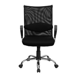 Flash Furniture - Mid-Back Manager's Chair with Black Mesh Back and Padded Mesh Seat - This extremely comfortable mesh office chair has a distinct look with its curved back and chrome framed arms. The breathable mesh back is an added bonus for keeping your back cool when sitting for long periods of time. Back features a chrome coat rack to keep your belongings within reach. Chair has attractive chrome arms with polyurethane arm caps.