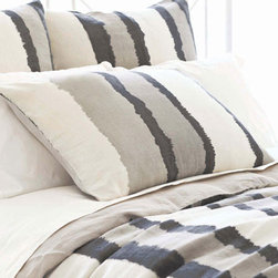 Pine Cone Hill - painted stripes linen sham (grey) - This item comes in��grey.��This item size is��euro or std.