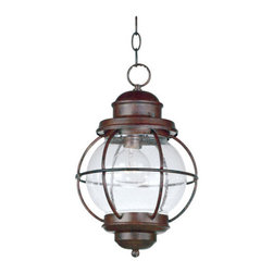 Kenroy Home - Kenroy Home 90965 Craftsman / Mission 1 Light Outdoor Pendant Hatteras - Pendant light in a gilded copper finish with clear seeded glassComes with 8' of wire and 2' of chain1 100w medium base bulb required