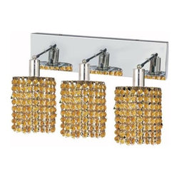 "PWG Lighting / Lighting By Pecaso - Wiatt 3-Light 14.5"" Crystal Vanity Fixture 1091W-O-R-LT-SS - Whether shown individually or as a collection, our Mini Crystal Chandeliers are stunning in any fashion. This stylish collection offers stunning crystal in a range of colorful options to suit every decor."