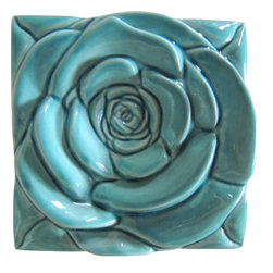 Roza - Turquoise Rose Tile-Wall Art - Wall Décor,