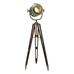 Benzara - Tripod Spot Light Metallic Finish with Gold Glaze - Exuding a vintage feel and antique in appearance, this spot light enhances the interiors with its subdued attributes. If you have an empty corner, you can embellish it with this spot light. Featuring a metallic finish with gold glaze, the sport light has three legged wooden tripod with a metal search light. This metal wood tripod spot light in the corner lends a hint of classiness to your decor. Equipped with electric fittings, this spotlight has a functional purpose. The metal caps secure its position when they are stored on a smooth surface. You can place this spot light in your office to create a mellow and quiet ambience.