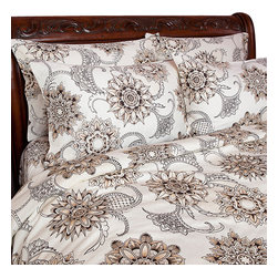 Sin in Linen - Henna Tattoo Comforter, King - Bring the spice of the middle east into your home with this henna tattoo print.