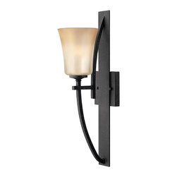 Hinkley Lighting - Valley Single Sconce - Grand, sweeping arms finished in Vintage Black combined with Amber Iridescent glass give the Valley collection an ornate appeal. Comes in Vintage Black finish. Takes 1 100 Watt Medium Bulb.