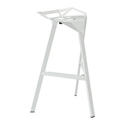 Modernist Bar Stool - White - Edgy, minimal and in a bright pop of white. We love the architectural edge of this stackable stool. Not only is it comfortable to sit in, it looks great in any room.