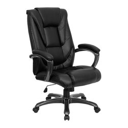 Flash Furniture - Flash Furniture High Back Black Leather Executive Office Chair - GO-7194B-BK-GG - This black leather office chair by flash furniture will be a comfortable and stylish addition to any office or home office setting. designed with the user in mind, this chair incorporates a well padded seat and back, an ergonomically curved back, and padded loop arms to give you a great sitting experience as well as an aesthetic complement to your decor. [GO-7194B-BK-GG]