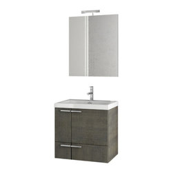 ACF - 23 Inch Grey Oak Bathroom Vanity Set - Set Includes: Vanity Cabinet (2 Doors, 1 Drawer), high-end fitted ceramic sink.