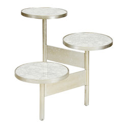 Worlds Away - Worlds Away 3 Tier Polished Champagne Silver Leaf Table with White Marble Tops C - Worlds Away 3 Tier Polished Champagne Silver Leaf Table with White Marble Tops COLIN SW