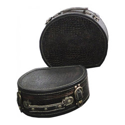 Round Suitcase Set of 2 - Our chests are all handcrafted and tailored to enhance the existing decor of any room in the home. Great to use for your very own treasure chest.