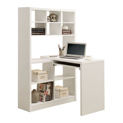 Monarch - White Hollow-core Left Or Right Facing Corner Desk - 2 in 1...this white hollow-core corner desk is also a shelving unit! This practical desk can be place on the left or right side, while still giving you the same amount of space. This multi-functional desk offers room for your computer or laptop and a lamp . Easily place your pictures, books, or decorative items in the empty spaces. This is a great back-to school gift for your studious children and even adults. They wont want to leave their desk!