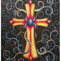 Cross (Original) by Jamie Lynn Moore - This paintings consists of a golden cross confidently situated in the center of the canvas. Warm tones of red and oranges establish dimension, while the center boasts a tear drop wrapped with chords of blues and purples. The background surrounds the symbol with soft splashes of gray overlapped by undulating swirls of color.