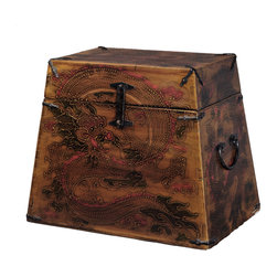 Antique Revival - Original Dragon Design Wooden Trunk - The vintage, handcrafted Dragon Design Wooden Trunk is both beautiful and functional. It's the perfect accent to any oriental or eclectic room, and provides storage space for books at the same time. The ornate dragon design is a surefire conversation starter, and the sturdy elm wood is high quality.