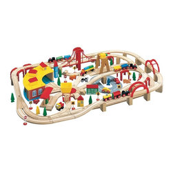 WoodenTracks.com Inc - Maxim 145 Piece Wooden Train Set Brown - 50226 - Shop for Vehicle Playsets and Accessories from Hayneedle.com! Give your conductor many options and adventures with the Maxim 145 Piece Wooden Train Set. Complete with tracks engines cars bridges buildings animals and more your child will spend hours coming up with new paths for their trains to follow. Made from 100% hardwoods and painted in fun vibrant and nontoxic colors this sturdy set is made to stay together and not fall down. It's also compatible with other fine wooden train sets such as Thomas and Friends Melissa & Doug Kidkraft and more. Additional Features Sturdy design and support structure Made to stay together and not fall down Compatible with many fine wooden train sets Works with many wooden train accessories Backed by a lifetime guaranteeAbout WoodenTracks.comA small business-based company that has been selling children's wooden train sets and accessories around the world since 1998 WoodenTracks.com is located in Portland OR. WoodenTracks.com makes sure all of their products are interchangeable and compatible with each other no matter the brand so you can build the ideal set for your child. WoodenTracks.com also believes that customer service is as important as their products and strives to make sure their customers are happy and satisfied.