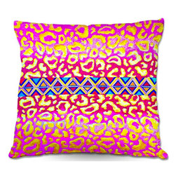 DiaNoche Designs - Pillow Linen by Julia Di Sano - Leopard Trail Pink - DiaNoche Designs works with artists from around the world to create astouding and unique home decor products.  Add a little texture and style to your decor with our Woven Linen throw pillows.  The material has a smooth boxy weave.  Each pillow is machine loomed, then printed and sewn ALL IN THE USA!!!  100% smooth poly with cushy supportive pillow insert with a hidden zip closure. Dye Sublimation printing adheres the ink to the material for long life and durability. Double Sided Print, machine wash upon arrival for maximum softness. Product may vary slightly from image.