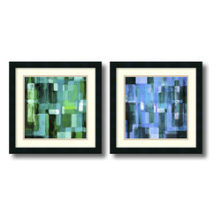 Amanti Art - James Burghardt 'Modular Tiles, Cool- set of 2' Framed Art Print 18 x 18-inch Ea - James Burghardt contemporary design of Modular Tiles II & III will add the perfect pop of cool color to your modern decor.