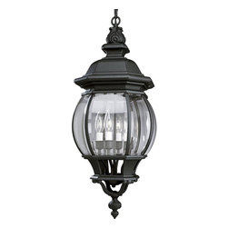 Progress Lighting - Progress Lighting Onion Lantern Traditional Outdoor Hanging Lantern X-13-1055P - Dark and bold, the Onion Lantern is the perfect accessory to illuminate your patio. With curving panels of clear Beveled glass, married to a boldly designed frame in a black finish. Make a statement with this charismatic hanging lantern.