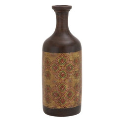 """Benzara - Classy Styled Attractive Terracotta Bottle Vase - If you are in search of a simple bottle vase that will give prominence to the flowers, then the terracotta vase might just be what you are looking for. This bottle vase has the amazing quality (because of its simplicity) that it won't overly be a hurdle in the experience of viewing flowers that are kept in it. Standing two feet in height, this vase can be used, both, indoors or for your porch.Made from terracotta, it has a brown color on its entire body, multicolored floral patterns. Perfect for homes that want to create an effect of naturalness and simplicity, it will surely give prominence to the flowers, but because of its simplicity it will also make the flowers look bolder. Put an end to your thoughts and get this terracotta bottle vase right away. It is worth owning one. Terracotta Bottle Vase measures 6 inches (W) x 4 inches (D) x 8 inches (H); Multicolor shades; Made from terracotta; Dimensions: 7""""L x 5""""W x 9""""H"""