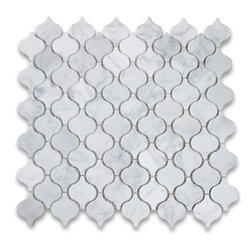 "Stone Center Corp - Carrara Marble Mini Lantern Shaped Arabesque Baroque Mosaic Tile Polished - Carrara White Marble mini lantern shaped pieces mounted on 12x12"" sturdy mesh tile sheet"