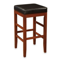 L. Powell Acquisition Corp. - Cherry Square Backless Bar Stool - The Cherry Square Bar Stool is finished in a rich cherry and features a plush black bonded leather seat. Its straight legs and simple design makes this piece a great piece to use anywhere, and is sure to fit into any home décor.