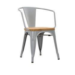 Bistro Arm Chair in Wood & Steel - Set of 2 - The highly durable Bistro Armchair is made from sturdy steel with a smooth teak seat. Equally great for all workplace environments and around the home, this chair has rubber feet to protect your floors and can be stacked for easy storage and mobility. Comes as a set of 2.