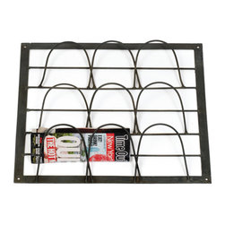 Montauk Magazine Rack - The Montauk Magazine Rack exhibits a solid iron construction and space saving racks. This wall mount rack is best to display your favorite magazines, periodicals etc. an addition of this iron rack brings utility and functionality to the space.