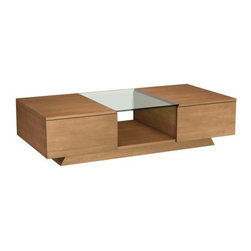 "Furnitech - Contemporary 53"" coffee table - Contemporary 53"" coffee table with 2 drawers and clear glass insert. Perfect match for FT60CC or FT72CC, Plinth Base and Glass Table Top Insert"