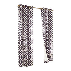 "Commonwealth Home Fashions - Trellis Thermalogic Purple 80"" X 84"" Grommet Top Curtain Pair - Trellis Thermalogic Purple 80"" X 84"" Grommet Top Curtain Pair.  Each package comes with two grommet top room darkening panels measuring 40"" Wide each. These curtains are thermal insulated, room darkening and are energy efficient.  The curtains insulating qualities keep your house warm in the winter and cool in the summer and can save on energy costs. These curtains block out a majority of the light but are not considered blackout curtains.  They feature a modern stylish geometric trellis pattern that is the perfect touch for that retro modern look. Made in China."