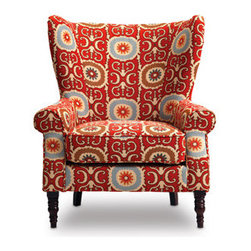 Sofa Mart: Evelyn Chair - This looks like a grandma's wingback chair, but the fabric says otherwise. It's fun and funky.