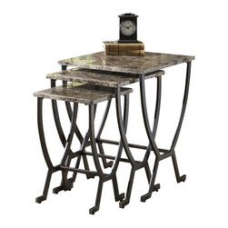 Hillsdale - Hillsdale Monaco Nesting Tables in Matte Espresso Finish - Hillsdale - Nesting Tables - 4142888 - Hillsdale Furniture's Monaco Nesting Tables offer luxury and elegance at a price you can afford. Dynamic faux marble table tops sit atop dramatic and strong metal bases. Designed to compactly nested one under the other these tables are not only stunning in appearance but a convenient way to provide extra table space when needed without taking up living space when not.