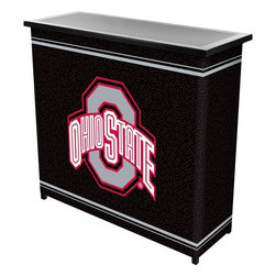 Trademark Global - Ohio State University 2 Shelf Portable Bar wi - 2 shelves which provide more than enough space for all your drinks and accessories. Constructed of metal . 4 strong legs. Collapses for easy space saving storage. Convenient carrying case included. 39 in. L x 15 in. D x 36 in. H.This Offically Licensed Portable Bar will ensure your next picnic or BBQ is a hit! It's also a great space saver for apartments and small homes.