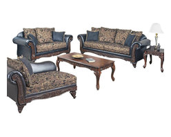 "Acme - 2-Piece Fairfax Collection Two Tone Silas Ebony Fabric Sofa and Love Seat Set - 2-Piece Fairfax collection two tone silas ebony fabric and vinyl upholstered with decorative wood trim sofa and love seat set. This set includes the sofa and love seat with padded backs and throw pillows, with carved accent. Sofa measures 93"" x 38"" x 40"" H. Love seat measures 71"" x 38"" x 40"" H. Chair also available separately at additional cost. Some assembly may be required."