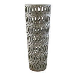 Selectives - 19.5-Inch Tall Ever Decotaive Vase - The never ending intertwined oval pattern of this sage green tall vase is refreshing and a beautiful way to display spring blooms.  It is appropriate for gift giving.