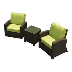 Barbados 3-Piece Modern Patio Chat Set, Kiwi Cushions
