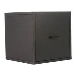 """Organize It All - 15"""" Single Drawer Storage Cube in Black - The Cube Collection gives you the option to build your own organizational system.   Choose from any combination of cube designs and stack them any way you like.   This particular piece is the 15"""" One Drawer Storage Cube.   MDF construction in a black glossy finish.   Check out more items from the Organize It All Cube Collection."""