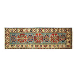 Manhattan Rugs - New Geometric Baby Blue Super Kazak 2' X 6' Hand Knotted Wool Oriental Rug H5280 - Kazak (Kazakh, Kasak, Gazakh, Qazax). The most used spelling today is Qazax but rug people use Kazak so I generally do as well.The areas known as Kazakstan, Chechenya and Shirvan respectively are situated north of  Iran and Afghanistan and to the east of the Caspian sea and are all new Soviet republics.   These rugs are woven by settled Armenians as well as nomadic Kurds, Georgians, Azerbaijanis and Lurs.  Many of the people of Turkoman origin fled to Pakistan when the Russians invaded Afghanistan and most of the rugs are woven close to Peshawar on the Afghan-Pakistan border.There are many design influences and consequently a large variety of motifs of various medallions, diamonds, latch-hooked zig-zags and other geometric shapes.  However, it is the wonderful colours used with rich reds, blues, yellows and greens which make them stand out from other rugs.  The ability of the Caucasian weaver to use dramatic colours and patterns is unequalled in the rug weaving world.  Very hard-wearing rugs as well as being very collectable.